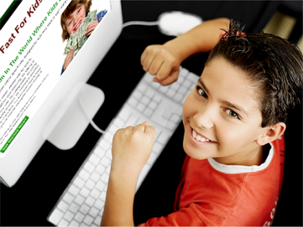 kid excited at computer